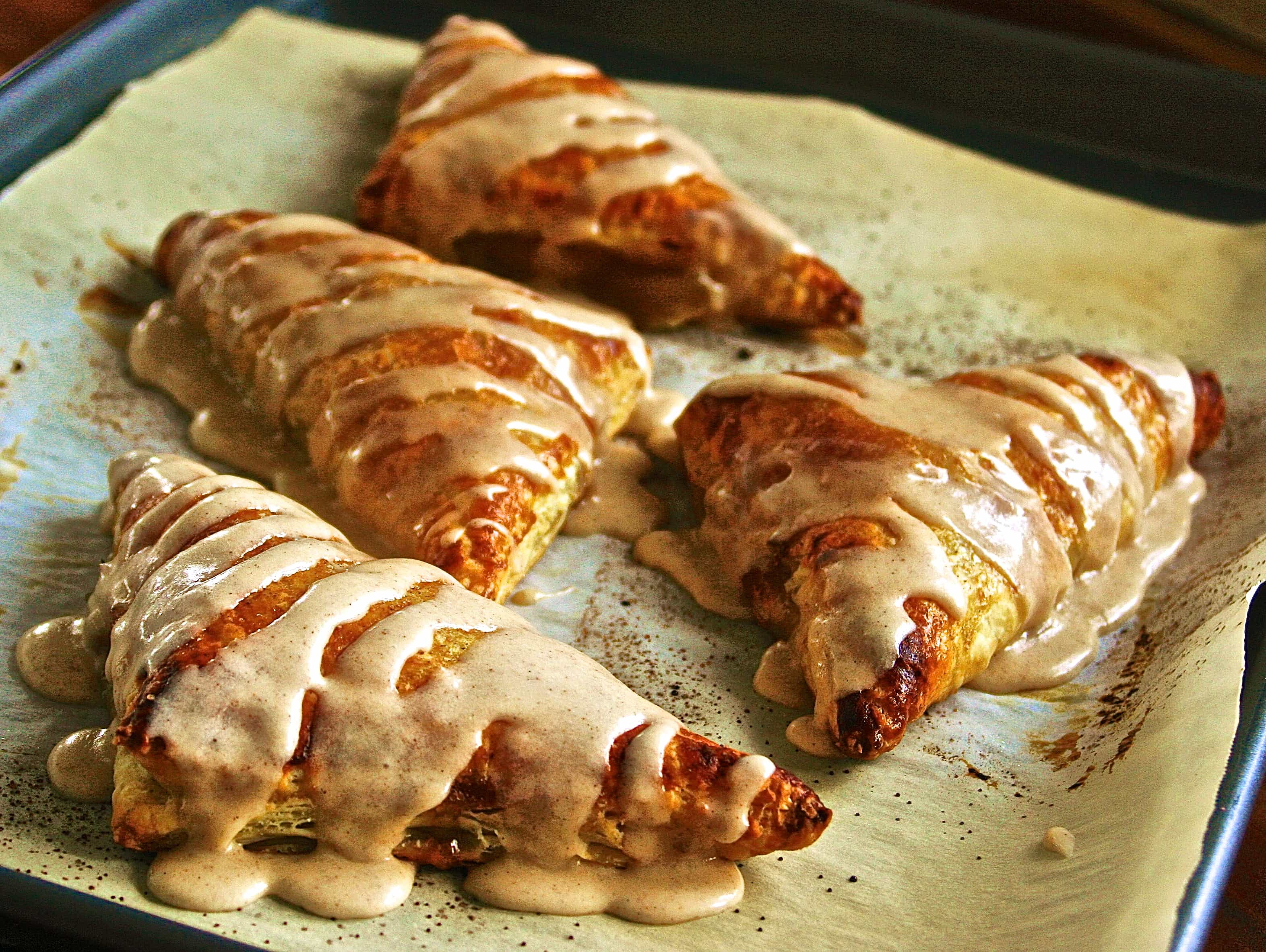 Puff Pastry Apple Pie Turnovers with Apple Spice Glaze - Wildflour's ...