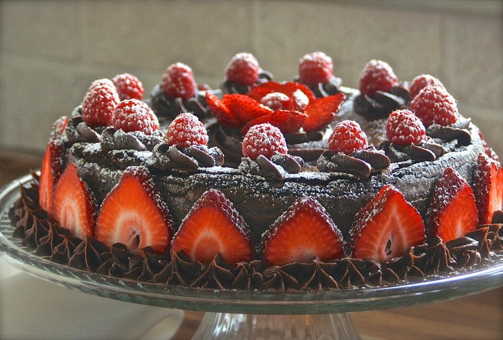 Decadent Chocolate Almond Torte with Fresh Summer Berries ...