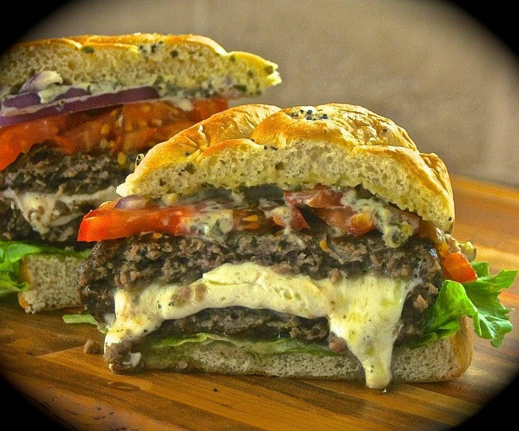 Fresh Mozzarella-Stuffed Pesto Burgers with Pesto-Mayo, Red Onion ...