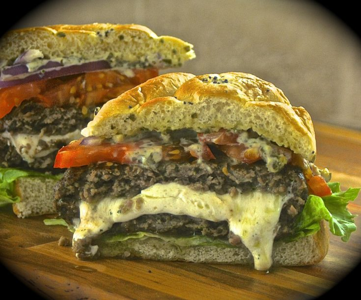 Fresh Mozzarella-Stuffed Pesto Burgers with Pesto-Mayo, Red Onion, Lettuce & Tomato