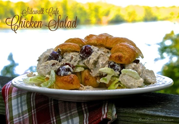 Sidewalk Cafe Chicken Salad with Red Grapes, Pecans, Celery & Tarragon on Toasted Croissants