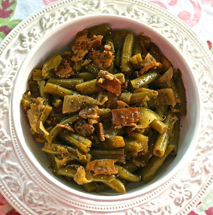 Country-Style Green Beans with Bacon, Brown Sugar, Caramelized Onions & Sweet Balsamic Vinegar