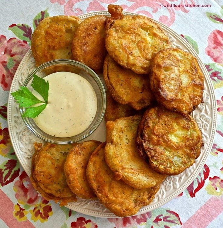 Summertime Beer-Battered Fried Zucchini with Honey-Mustard Ranch Dipping Sauce