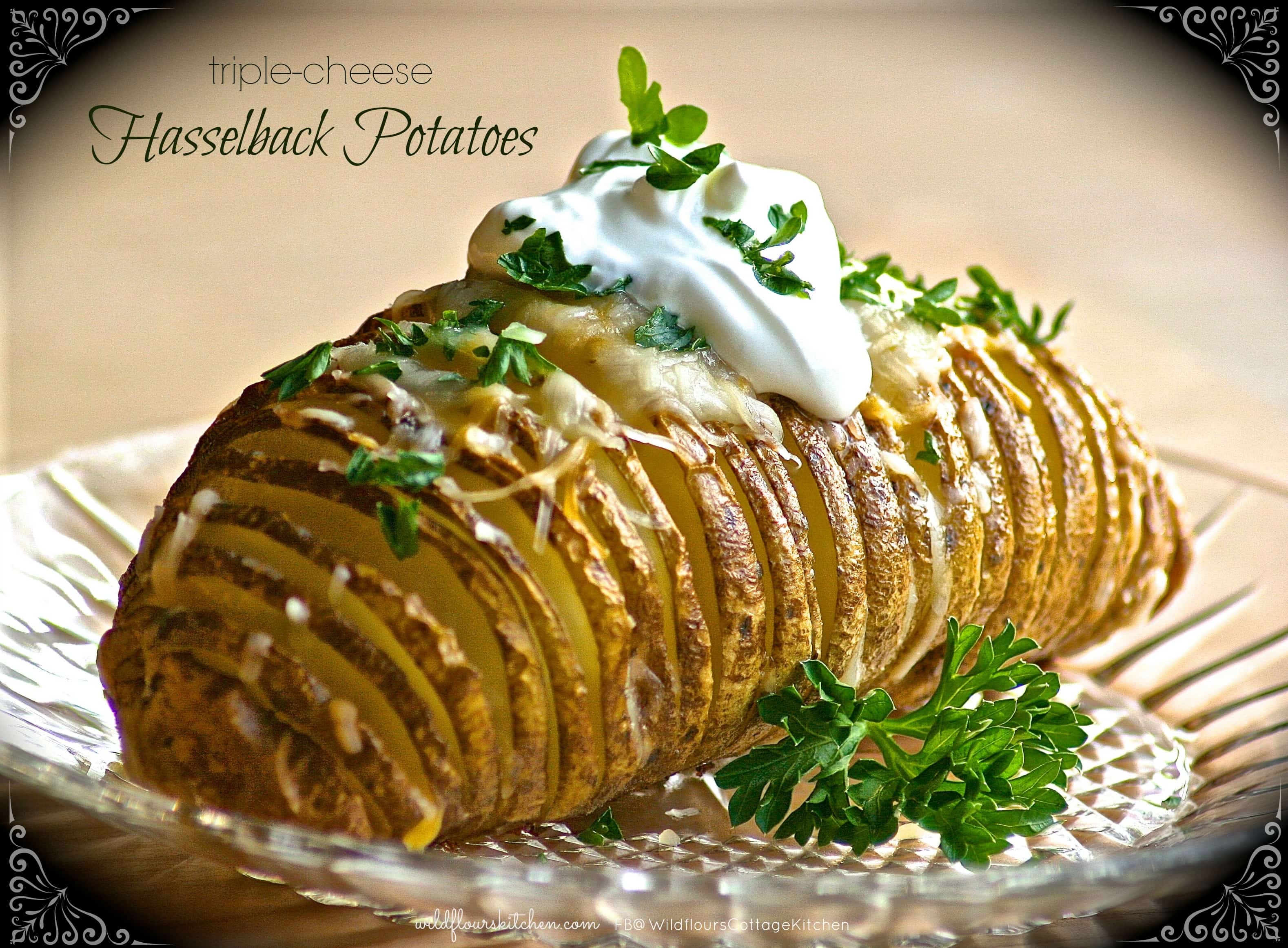 Triple-Cheese Hasselback Potatoes - Wildflour's Cottage Kitchen