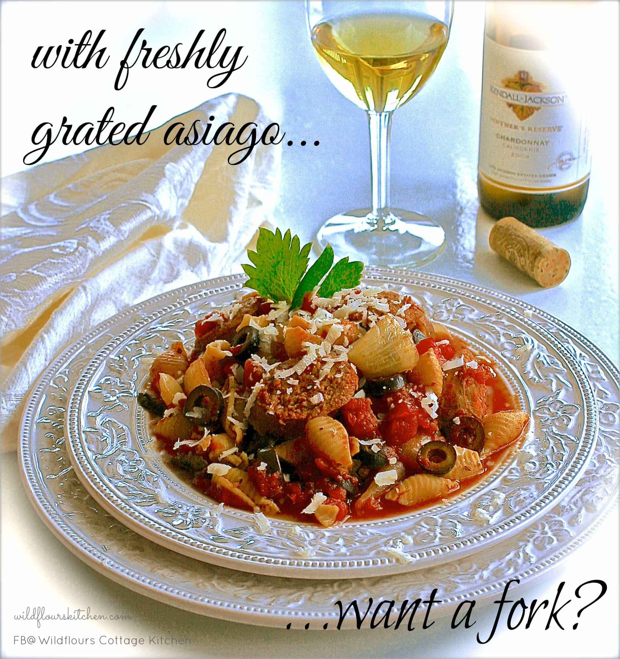 Slow Simmered Spicy Sausage Cacciatore With Conchiglie