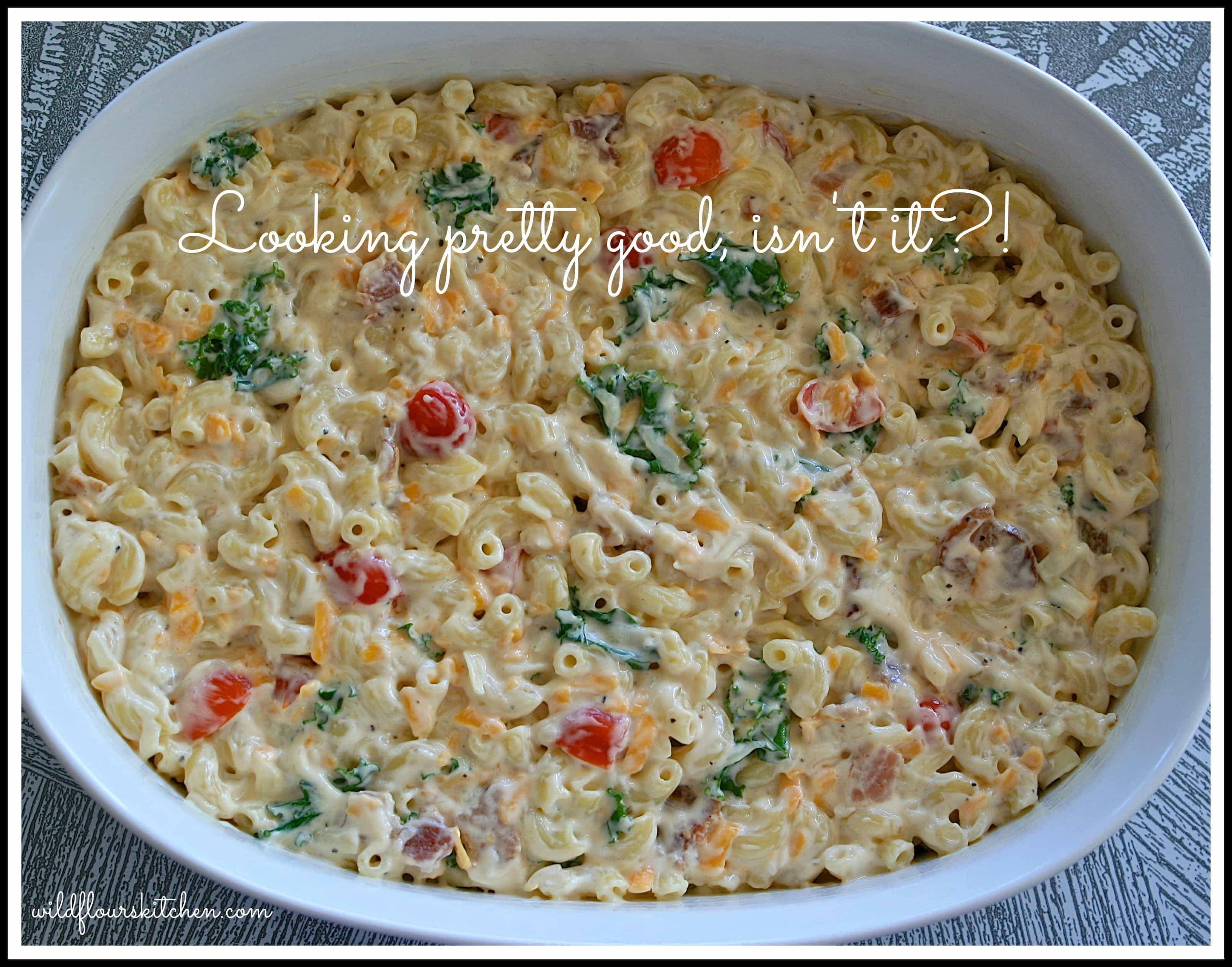 BLT Mac 'n Cheese with Bacon, Kale and Grape Tomatoes - Wildflour's ...