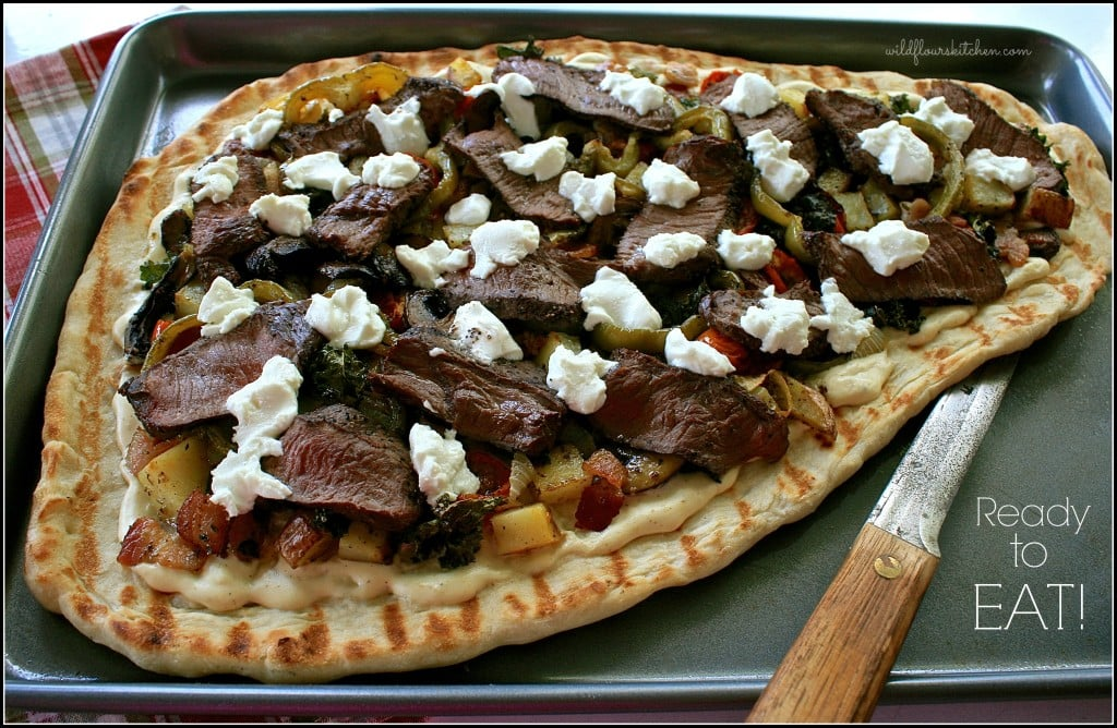 grilled steak pizza ready