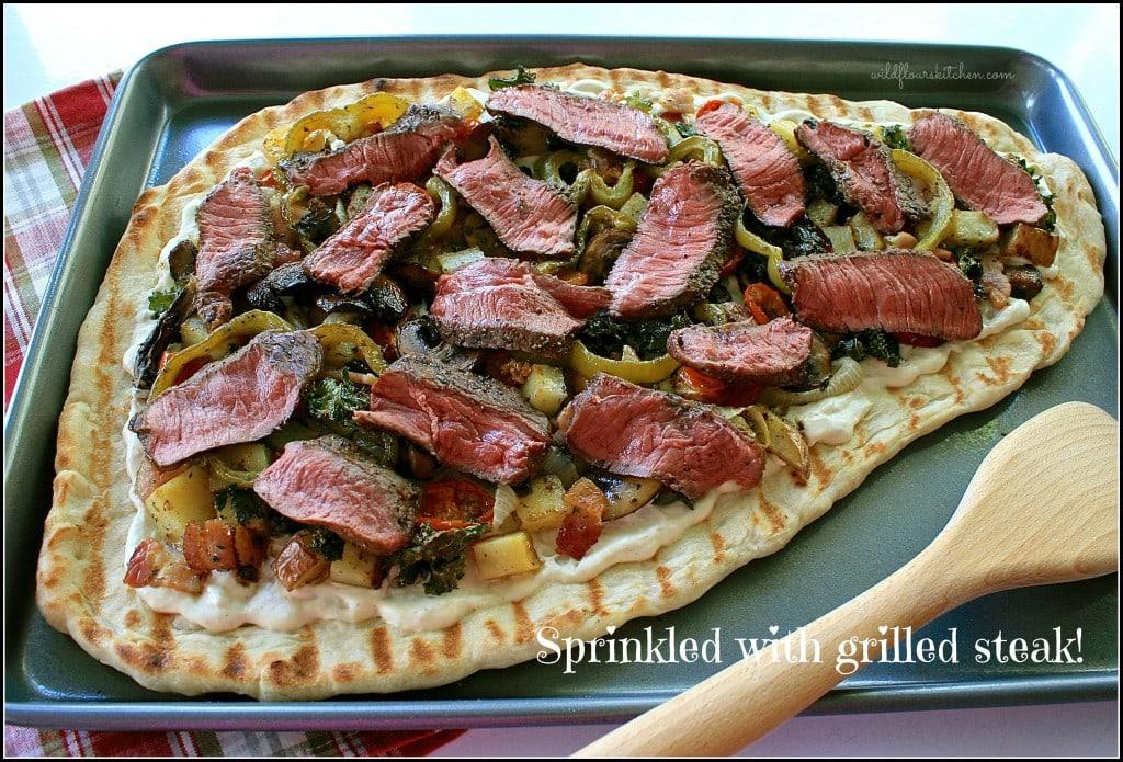 grilled steak pizza : steak