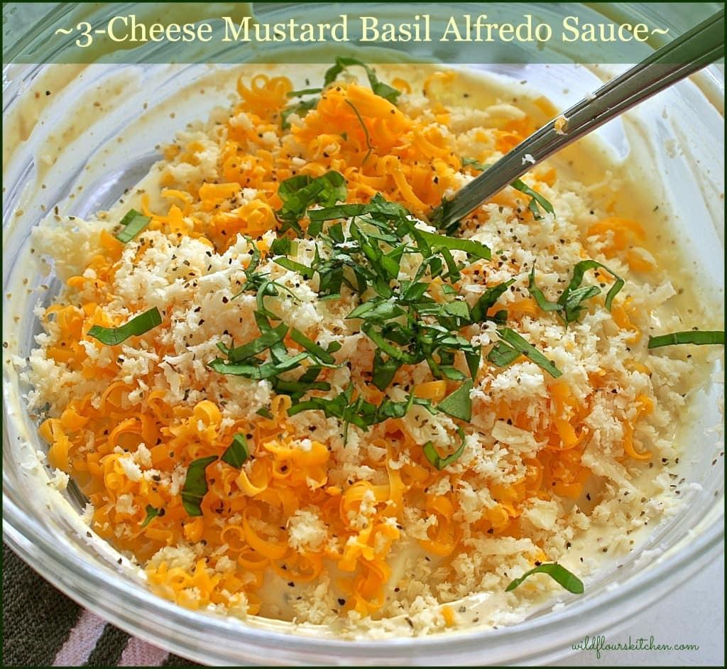 3 cheese mustard basil alfredo