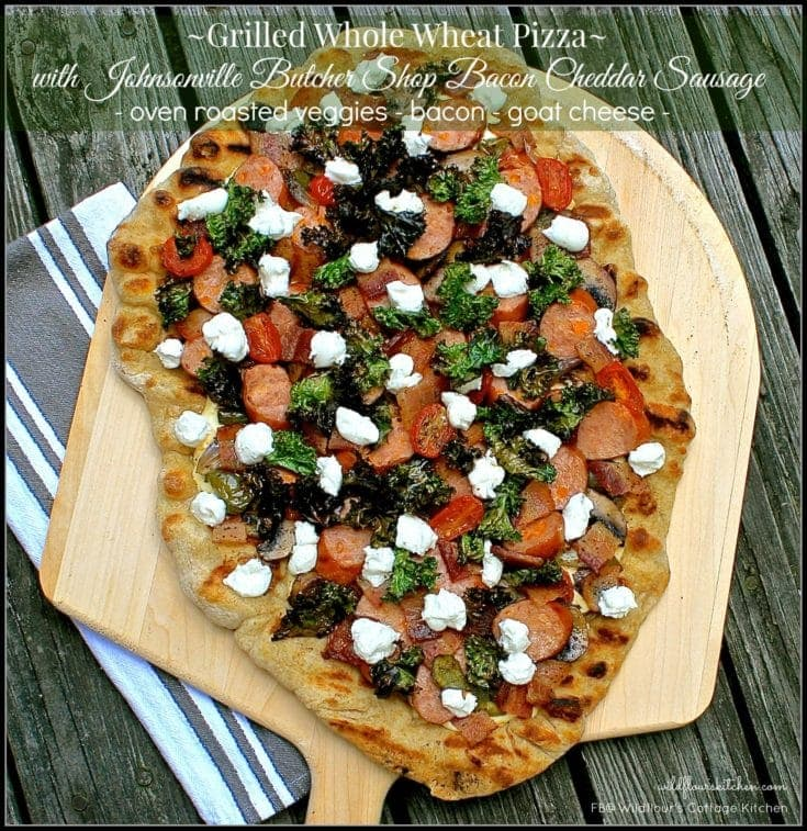 Grilled Whole Wheat Pizza with Johnsonville Butcher Shop Bacon Cheddar Sausage, Oven-Roasted Veggies, Bacon & Goat Cheese