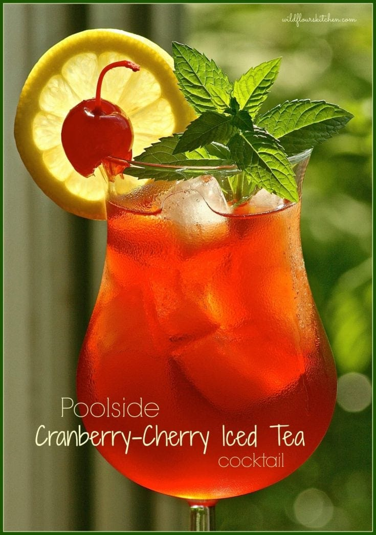 Poolside Cranberry-Cherry Iced Tea Cocktail