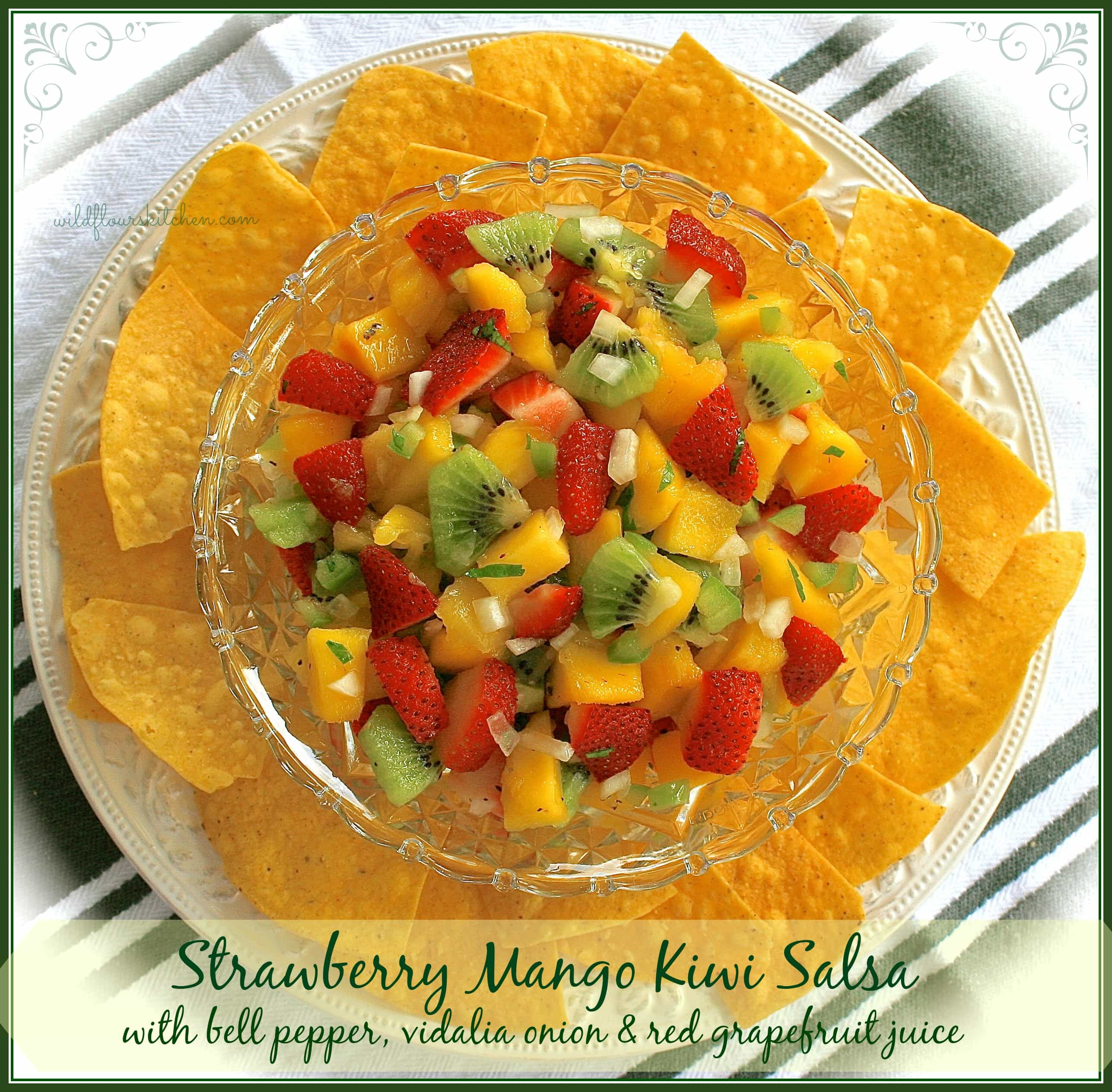 Strawberry Mango Kiwi Salsa with Bell Pepper, Vidalia Onion & Ruby Red ...