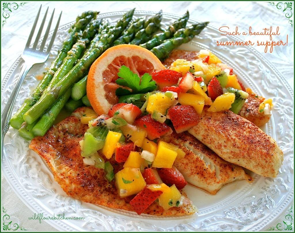 tilapia:salsa:asparagus plated