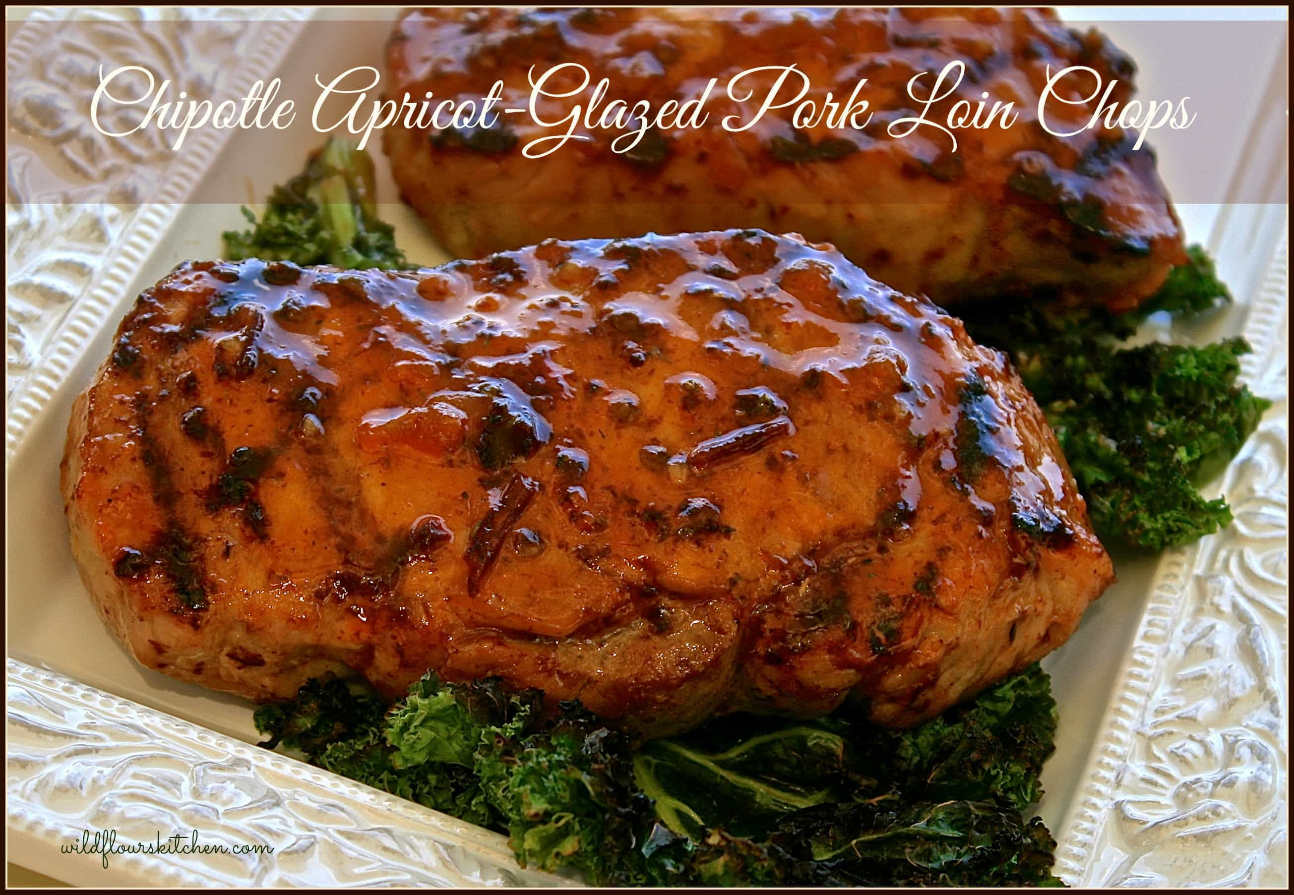Grilled Chipotle Apricot-Glazed Pork Loin Chops