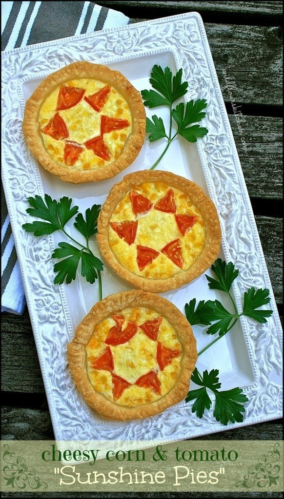 "Cheese Mini ""Sunshine Pies"" with Fresh Corn and Tomatoes - Wildflou..."