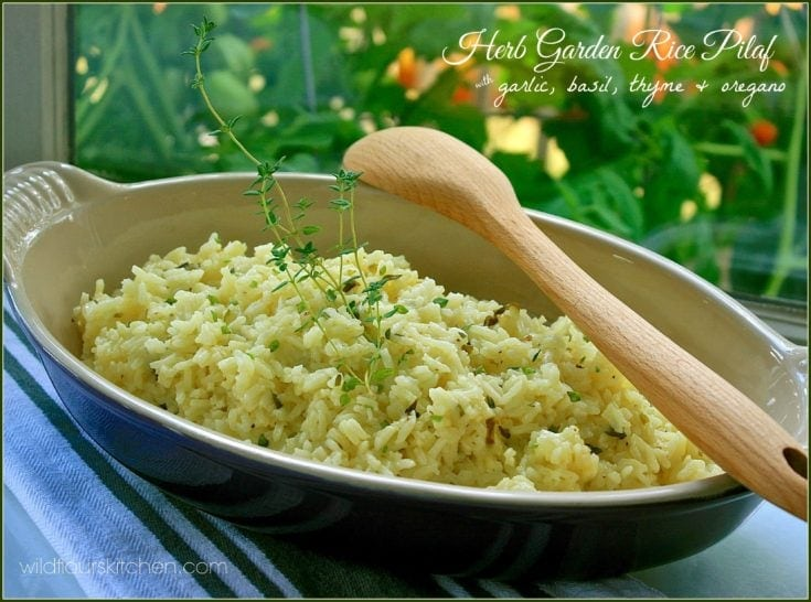 Herb Garden Rice Pilaf with Fresh Garlic, Basil, Thyme and Oregano