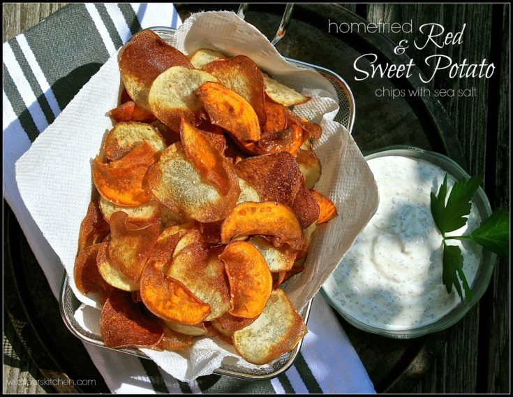 Rustic Home-Fried Red & Sweet Potato Chips with Sea Salt