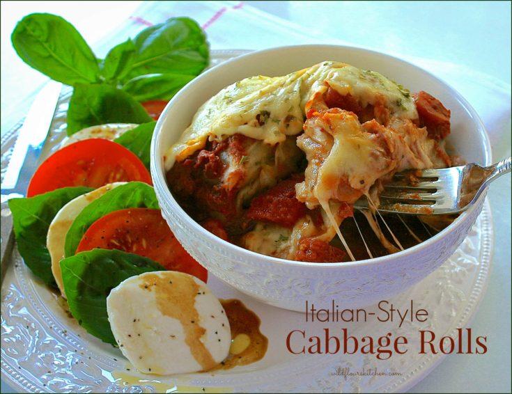 Italian-Style Stuffed Cabbage Rolls Smothered in Homemade Spaghetti Sauce & Mozzarella (Crock Pot)