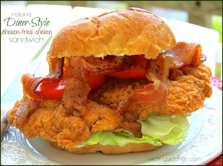 Indiana Diner-Style Chicken Fried Chicken Sandwich with Bacon, Lettuce & Tomato