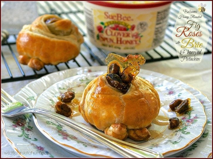 Honey-Roasted Balsamic-Vanilla Bean Fresh Fig Pastry Roses with Brie & Caramelized Honey-Pistachios