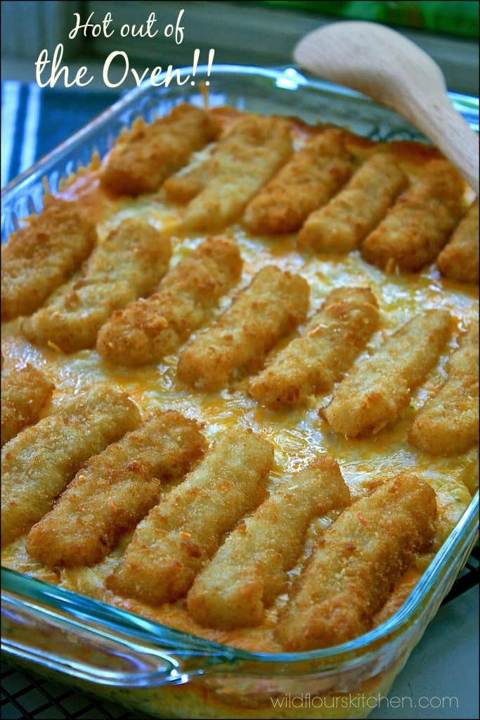 cheesy weeknight fish stick casserole wildflour 39 s