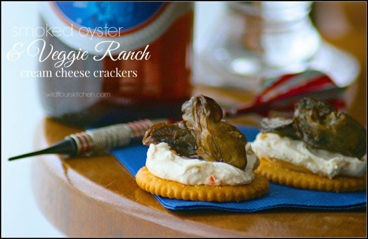 Smoked Oyster & Veggie-Ranch Cream Cheese Crackers