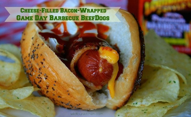 Cheese-Filled Bacon-Wrapped Game Day Barbecue BeefDogs