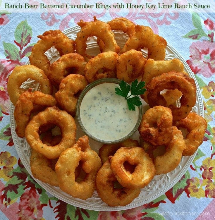 Beer-Batter Cucumber Rings with Honey-Key Lime Ranch Dipping Sauce