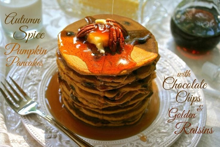 Autumn Spice Pumpkin Pancakes with Chocolate Chips and Golden Raisins
