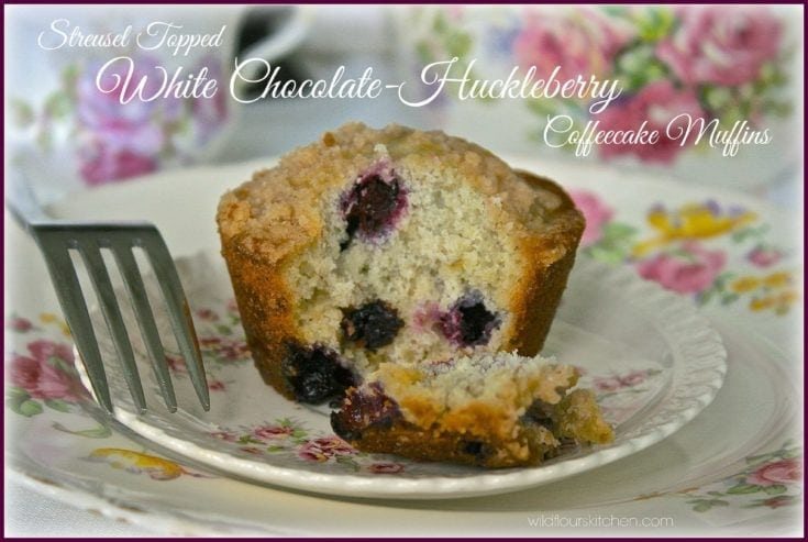 Streusel Topped White Chocolate-Huckleberry Coffee Cake Muffins