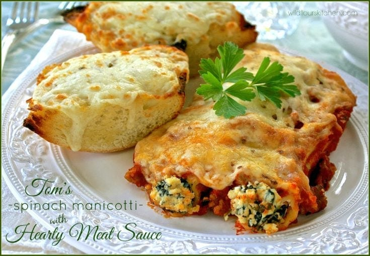 Tom's Amazing Spinach Manicotti with Hearty Meat Sauce