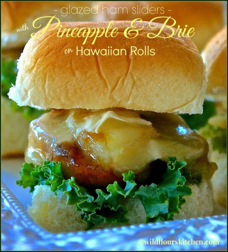 Glazed Ham Sliders with Pineapple & Brie on Hawaiian Rolls