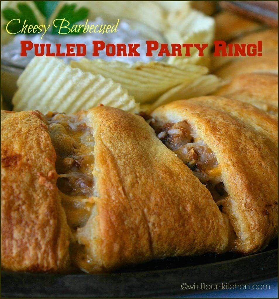 pulled pork party ring closeup