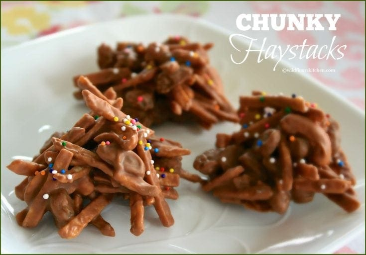 Chunky Haystacks with Shoestring Potato Chips, Cashews & Raisins