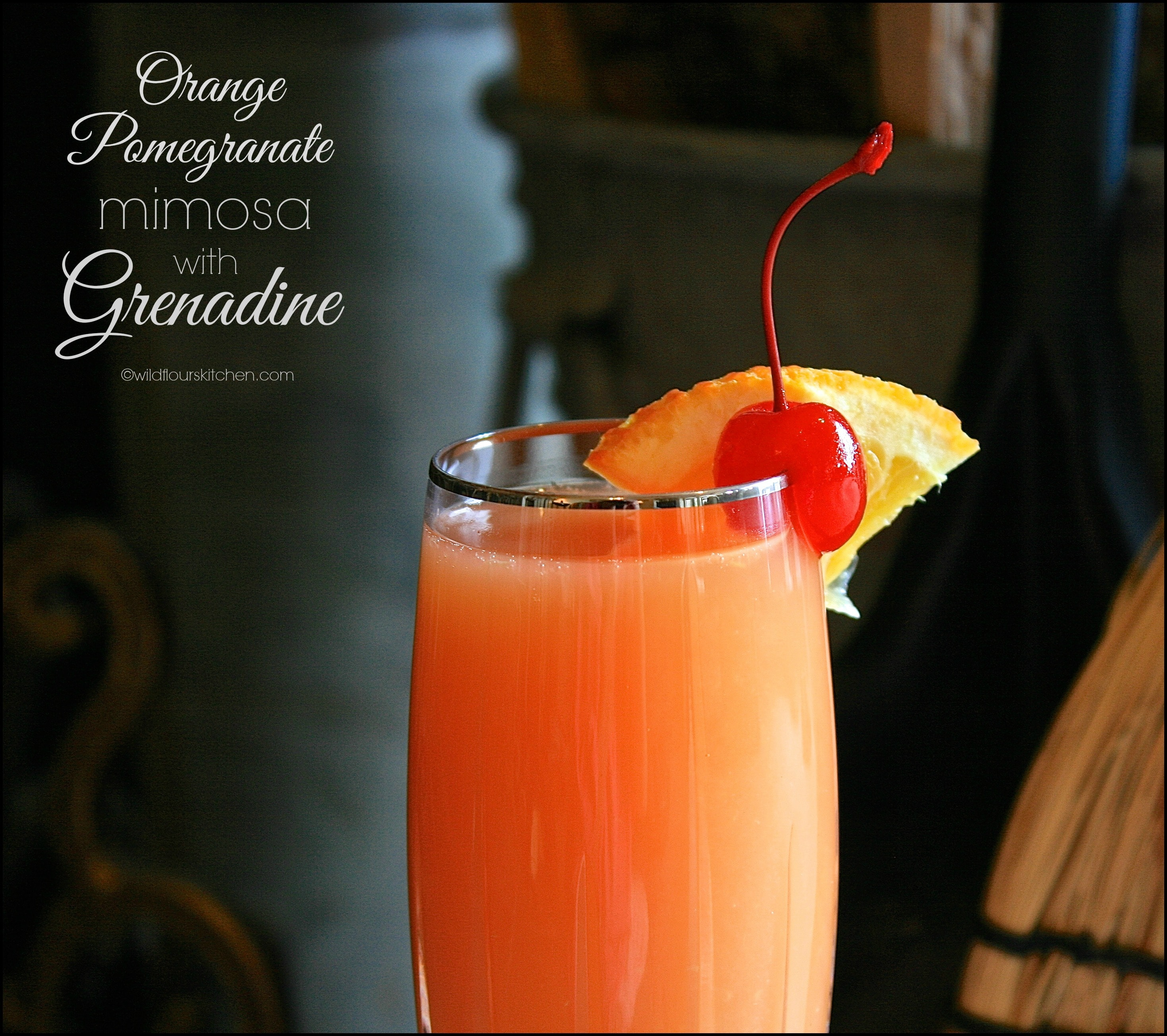 Orange pomegranate mimosa with grenadine wildflour 39 s for How many mimosas per bottle of champagne