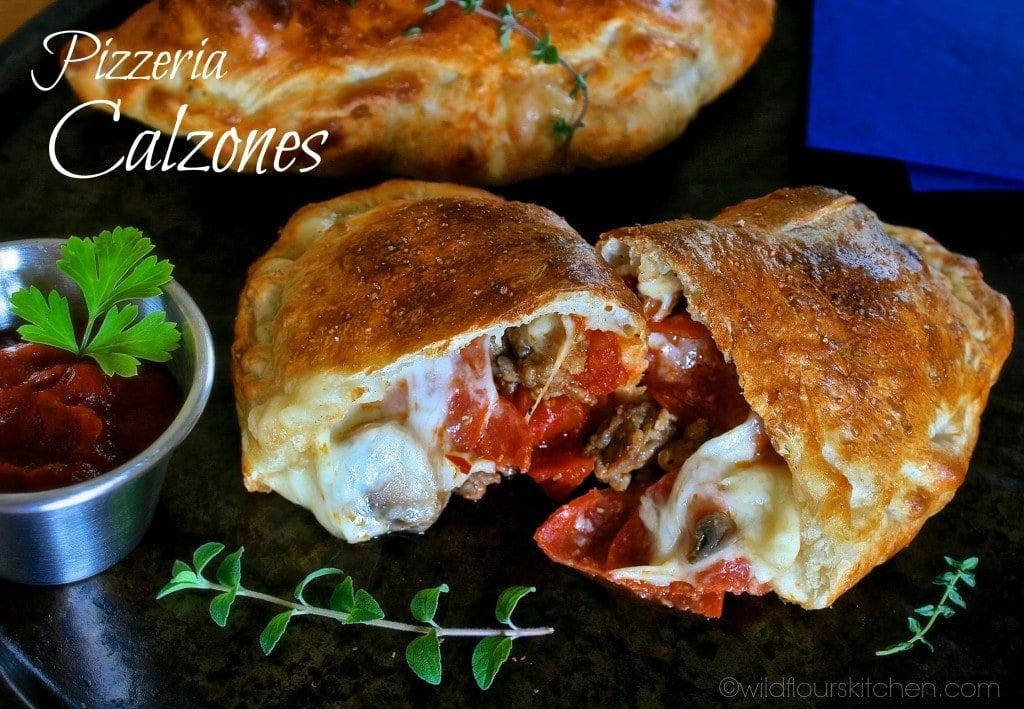 pizza calzones open