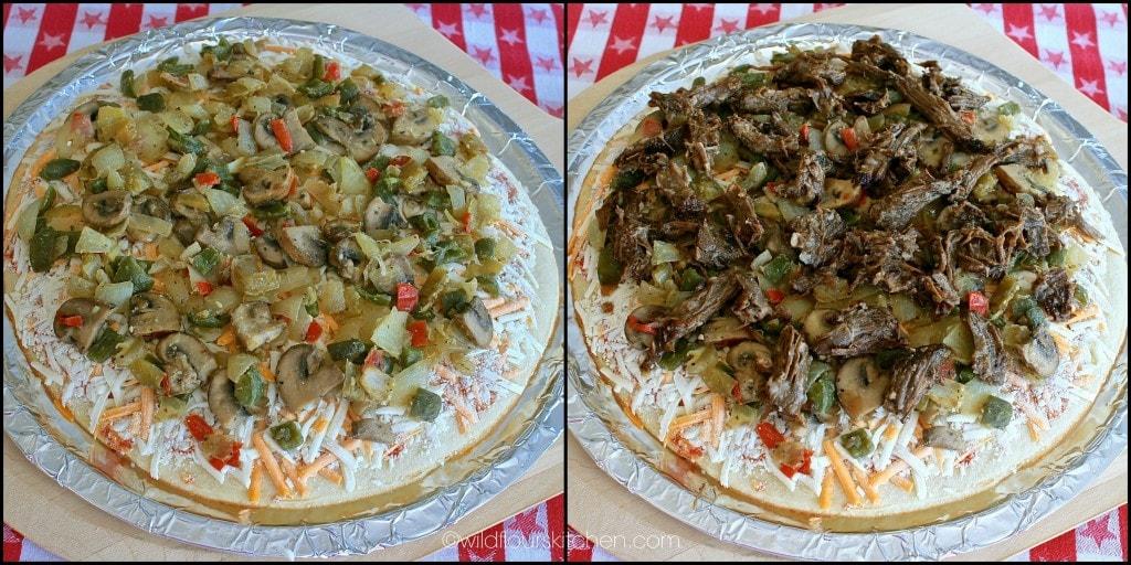 italian beef pizza assembly