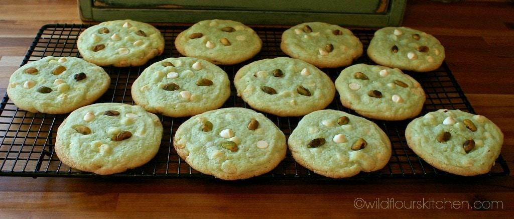 pistachio cookies cooling