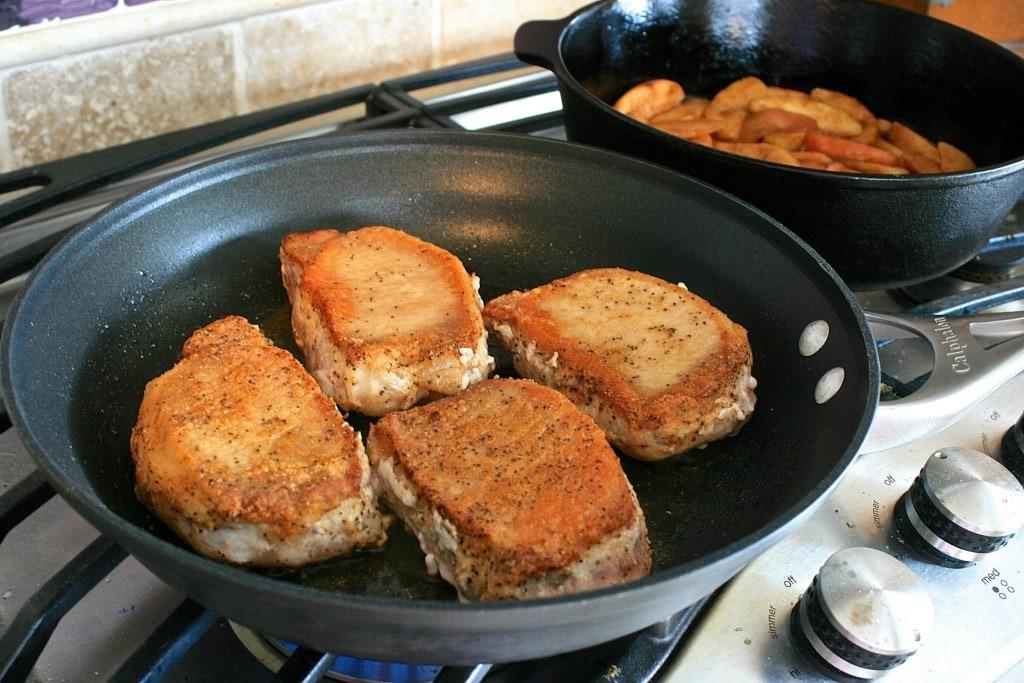 pork chops seared