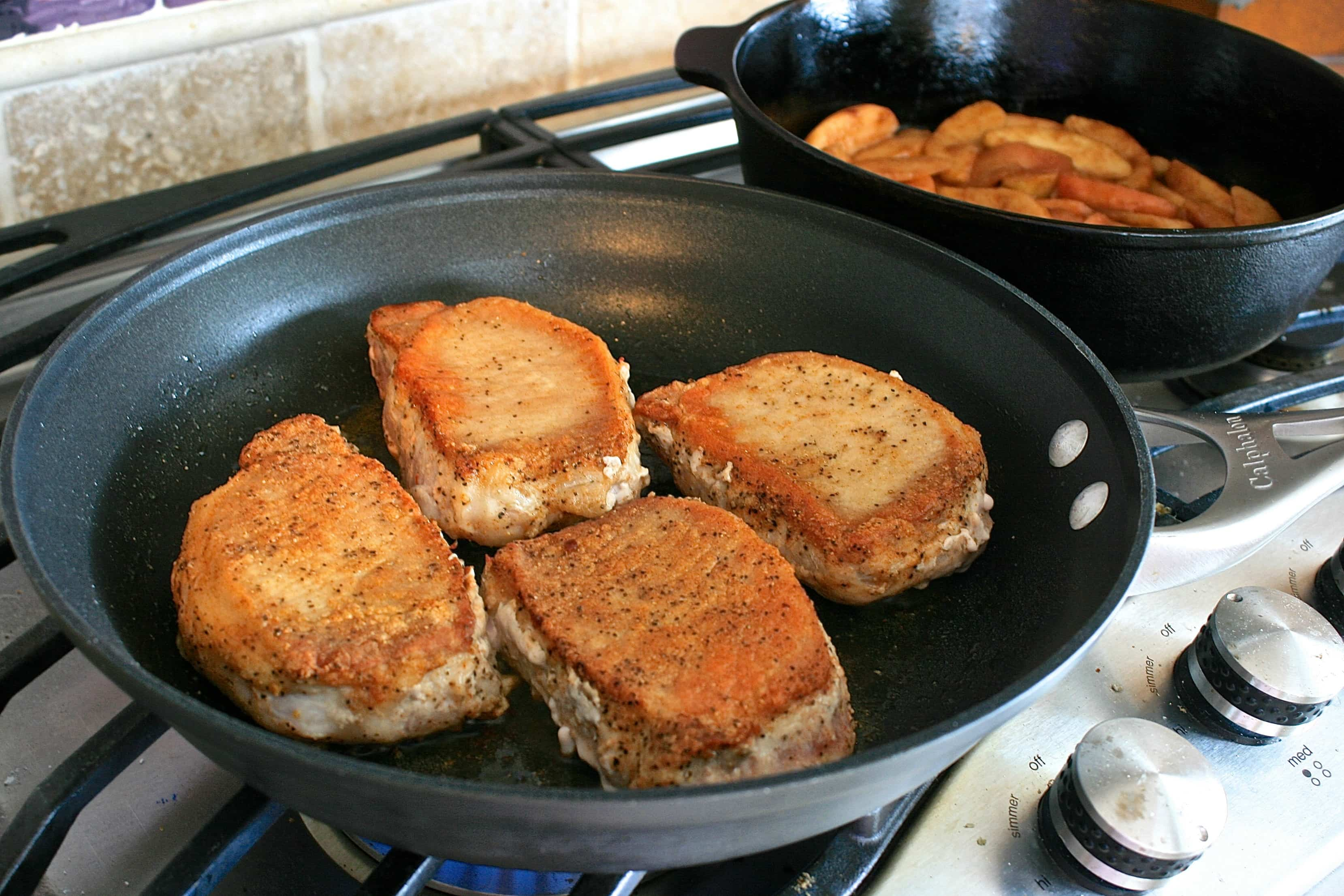 Cast iron skillet apple pie pork chops topped with copycat boxed pork chops seared while chops are resting prepare ccuart Images