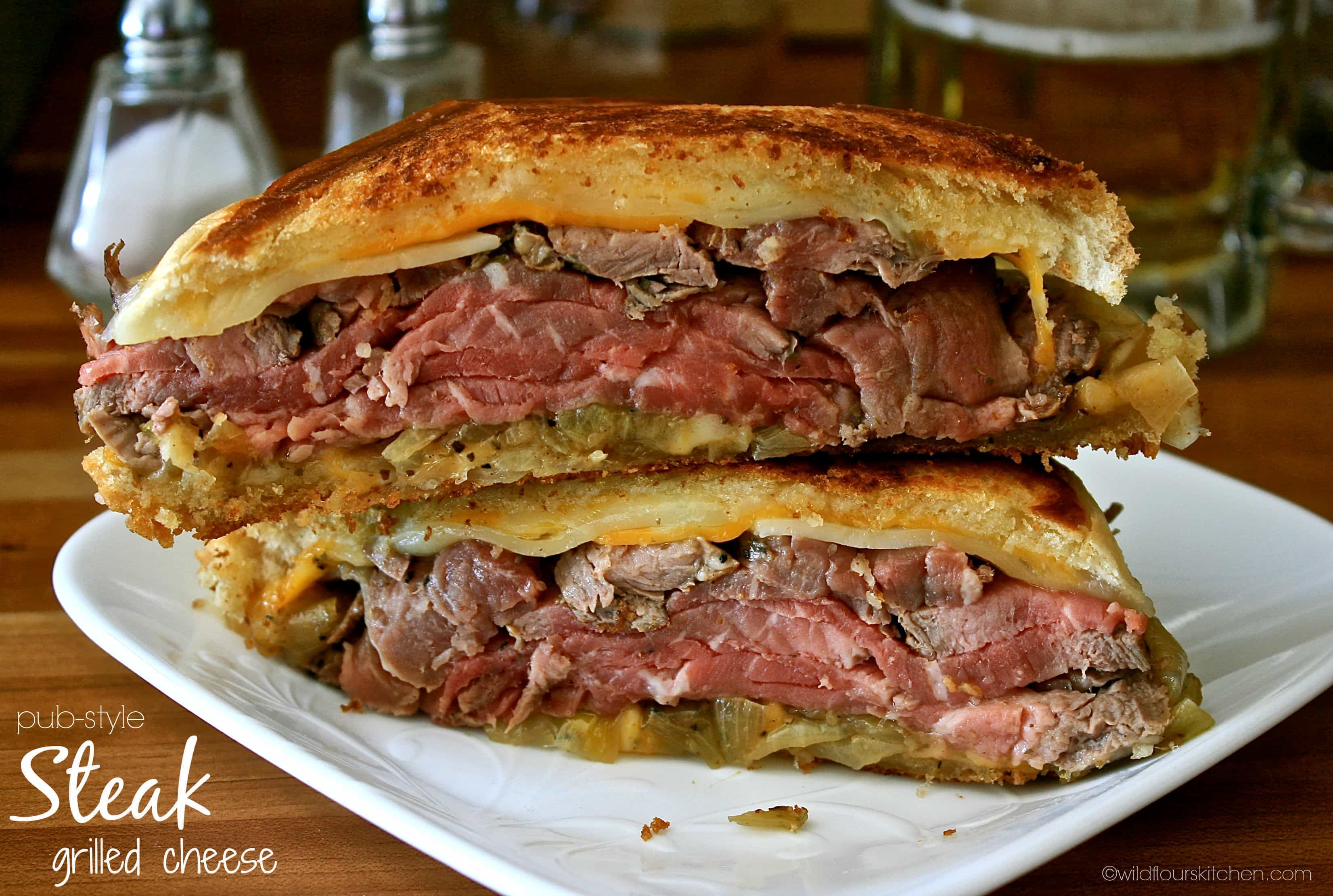 Pub-Style Steak Grilled Cheese with Beer-Braised Onions & Creamy ...