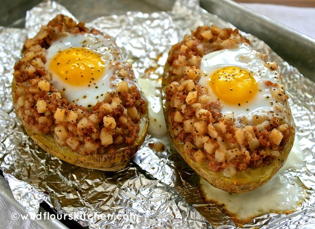 """Twice-Baked """"Egg in the Nest"""" Flannel Potatoes - Wildflour's Co..."""