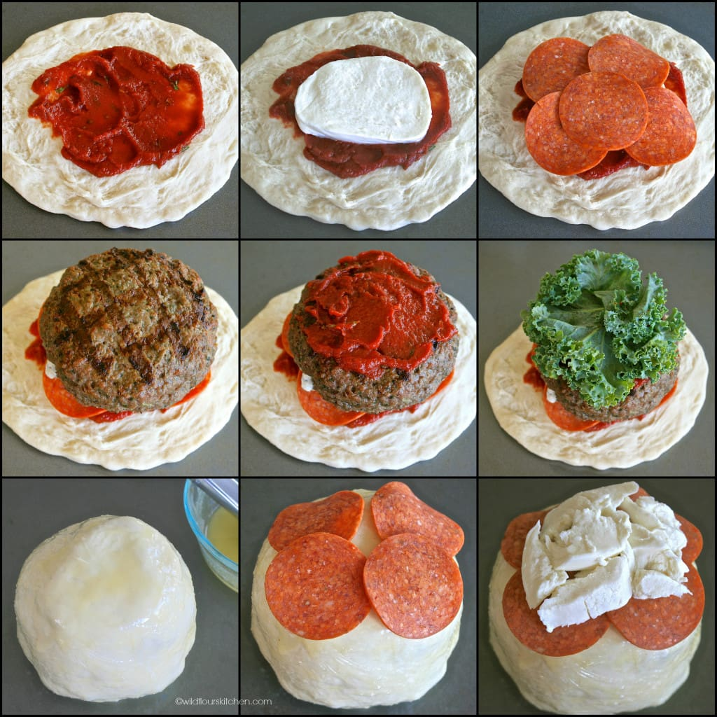 pizza burger collage