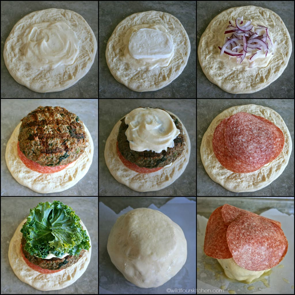 spinach buger bomb collage