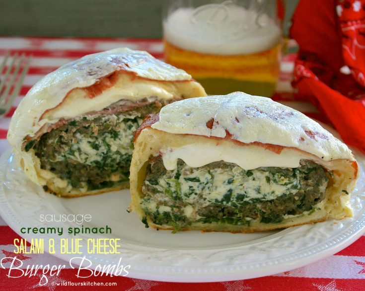 Creamy Blue Cheese Stuffed Burger Bombs with Sausage, Salami, Fresh Mozzarella & Honey-Mustard Aioli