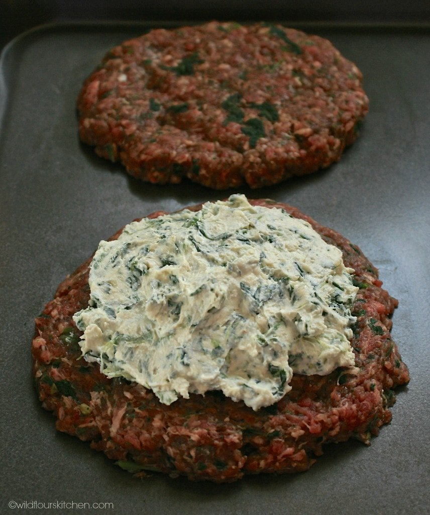spinach filling bomb burger