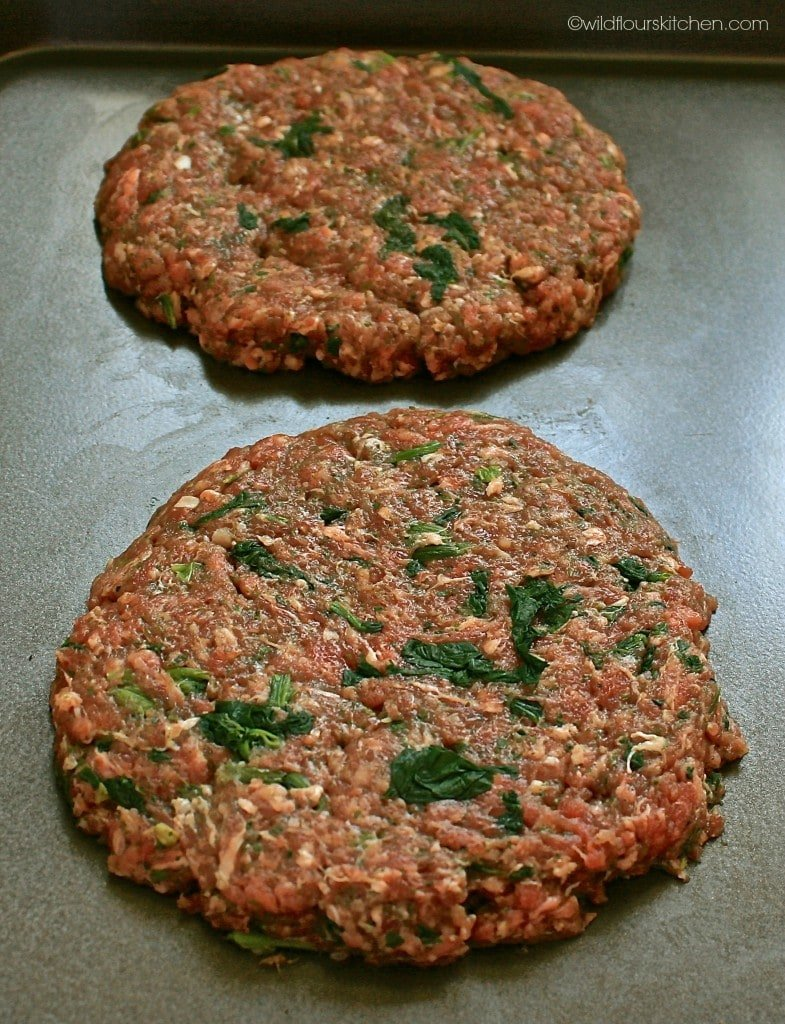 Once the patties were formed and pressed, making the bottom ones ...