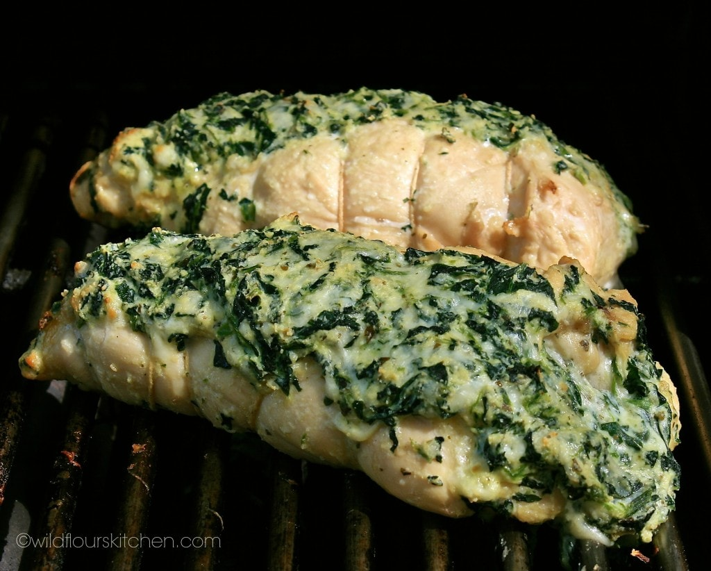 spinach chicken on grill