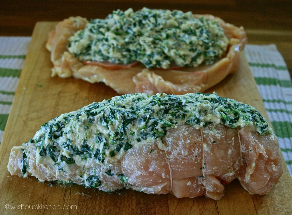spinach chicken tied