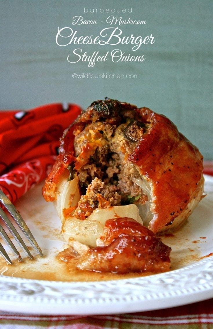 Barbecued Bacon Mushroom Cheeseburger Stuffed Onions with Kale & Oven Roasted Tomatoes